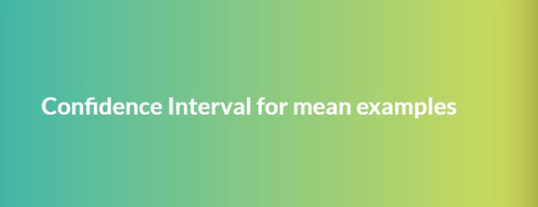 confidence interval for mean example