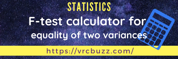 F-test calculator for equality of two variances