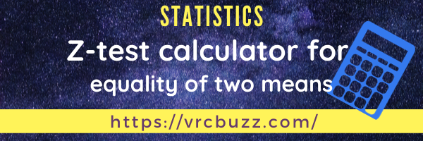 Z-test calculator for equality of means