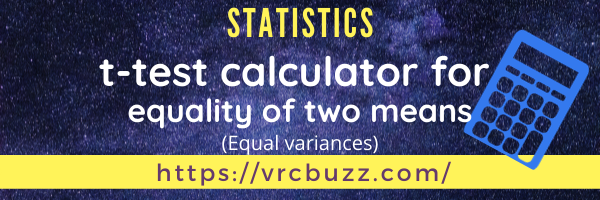 t-test calculator for equality of 2 means (equal variances)