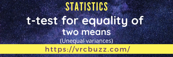 t-test for equality of 2 means (unequal variances)